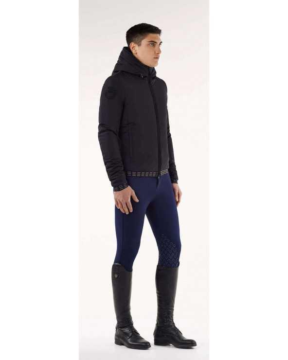 Blouson CT - Nylon Hooded Jacket with Pattern Fleece - Noir - 9999 - L GIU185NY502 Cavalleria Toscana Parkas & Doudounes